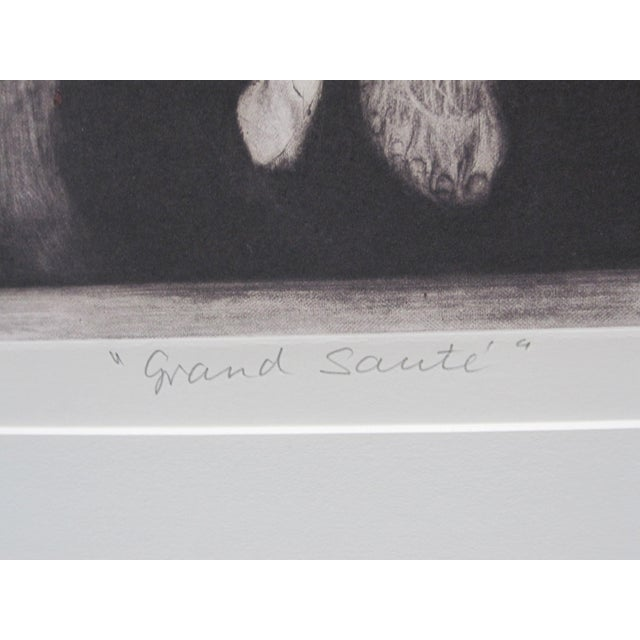 "Drypoint 1970s Vintage G. H. Rothe ""Grand Saute"" Signed Ballet Dancer Mezzotint Print For Sale - Image 7 of 9"
