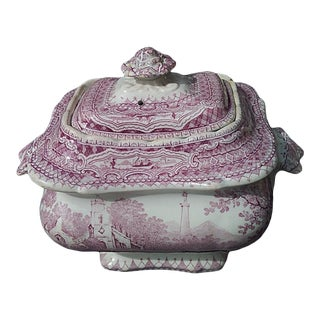 English Lavender and White Ironstone Pastural Tureen For Sale