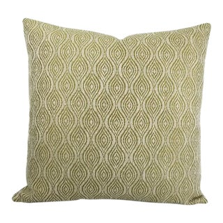 """Mulberry Home Haslam in the Color Leaf Woven Green and Cream Ogee Pattern Pillow Cover - 20"""" X 20"""" For Sale"""