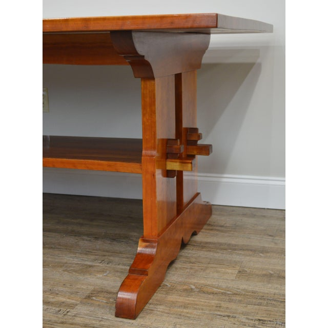 Arts & Crafts Style Custom Quality Cherry Trestle Dining Table For Sale - Image 11 of 13