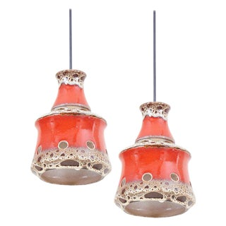 Pair of Ceramic Pendant Lamp With Lava Glaze, Germany, 1970s For Sale