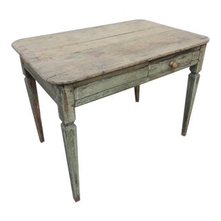 Antique Wooden Swedish Side Table With Drawer For Sale