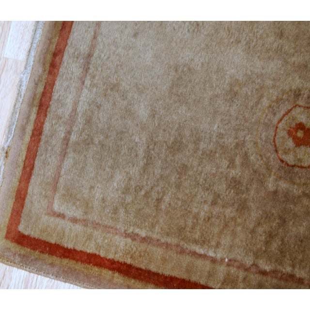 Textile 1970s, Handmade Vintage Art Deco Chinese Rug 2.1' X 3.2' For Sale - Image 7 of 8