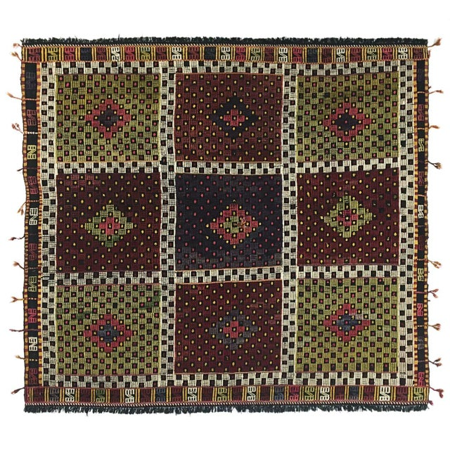 Cabin Vintage Turkish Embroidered Kilim | 5'5 X 5'7 For Sale - Image 3 of 5