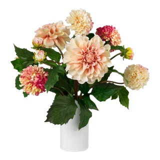 Diane James for Chairish Faux Pink Dahlia Bouquet For Sale