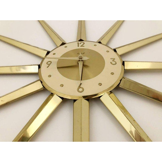 Contemporary Large Roxhall Brass Spike Sunburst Clock, Circa 1960 For Sale - Image 3 of 6