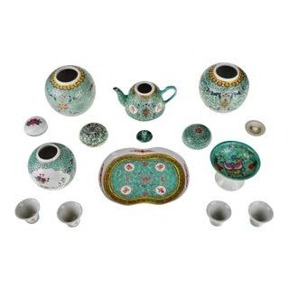 Vintage Famille Rose Mun Shou Porcelain Tea Set Ginger Jars - 10 Pieces