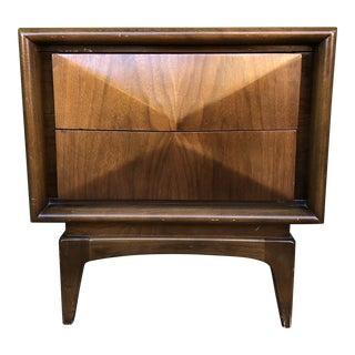 Mid Century Diamond Front Two Drawer Nightstand by United Furniture For Sale