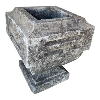 Antique 1920s Squared Stone Urn For Sale