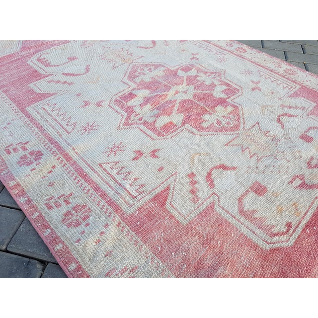 """Red Distressed Red and Yellow Turkish Rug 4'1"""" X 8'6"""" For Sale - Image 8 of 12"""