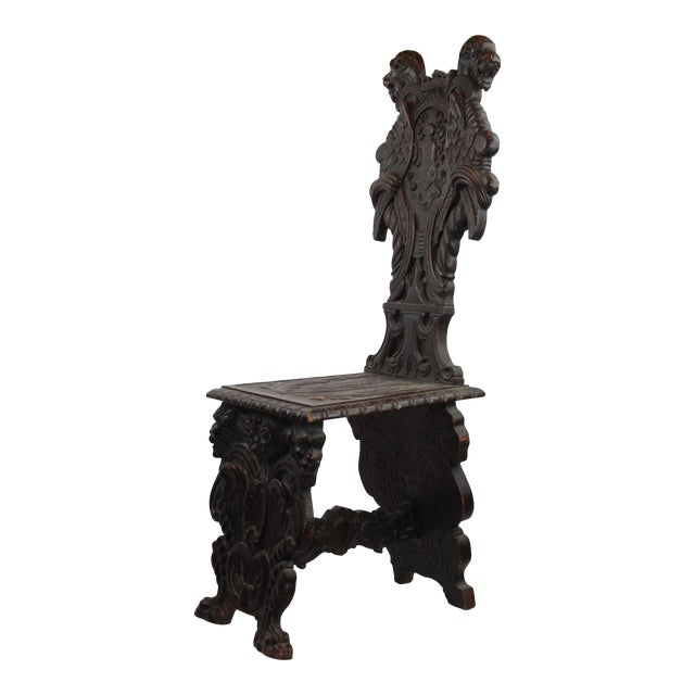 Early 19th Century Antique Italian Pasargad DC Renaissance Carved Wooden Chair For Sale