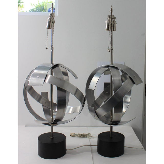 Silver Vintage Modern Armillary Style Aluminum Table Lamps - the Pair For Sale - Image 8 of 13