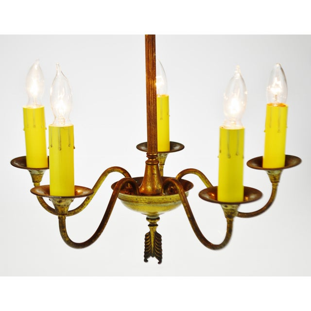 Antique Brass 5 Light Candle Chandelier Arrow Design For Sale - Image 11 of 13