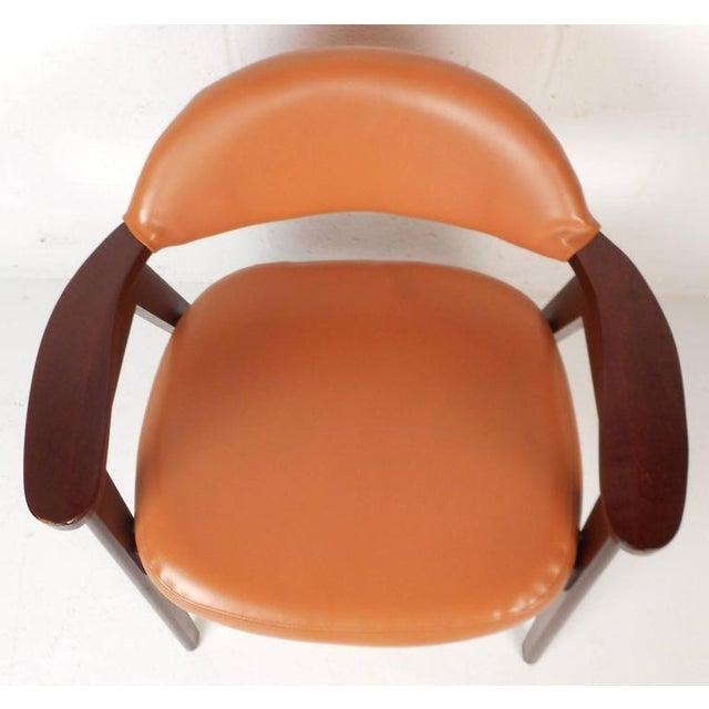 Mid-Century Modern Vinyl Dining Chairs - Set of 4 - Image 5 of 8