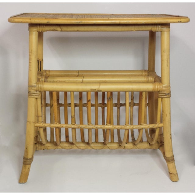 This listing is for a Vintage Mid Century Bamboo Rattan Magazine Rack Side Table Gorgeous must have end table/magazine...