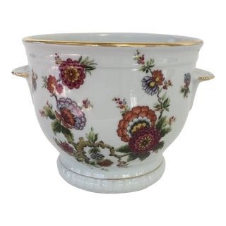German Porcelain Floral Cachepot For Sale