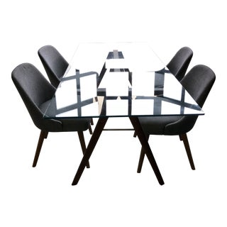 Modern West Elm Jensen Modern Dining Table & Chairs Set- 5 Pieces For Sale