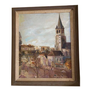 Vintage Paris Street Scene, Oil on Canvass by Marion Pike For Sale