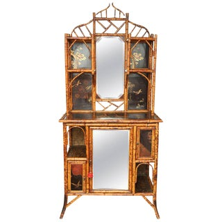 Late 19th Century Japenese Bamboo Lacquer Curio Cabinet