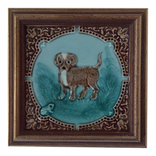 "1896 Antique Rockwood ""Puppy"" Tile"