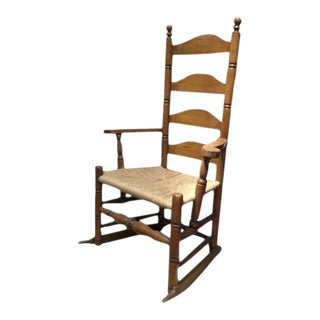 New England American Four Ladder Back Maple Chair Maple 18th Century Rocker For Sale