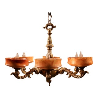 1920 French Amber Alabaster and Bronze Chandelier For Sale