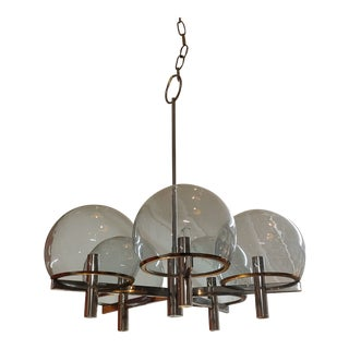 Vintage Gaetano Sciolari Club 5 Arm Chrome & Smoke Glass Hanging Light For Sale