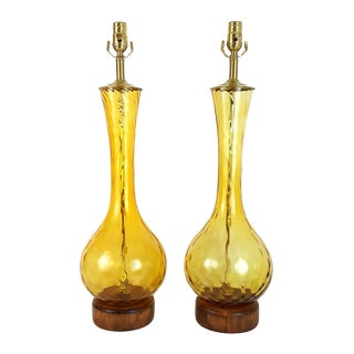 Italian Mid-Century Modern Optic Glass and Teak Lamps - a Pair For Sale