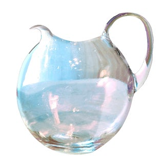 1920s Art Deco Round Fish Bowl Shaped Clear Hand Blown Glass Pitcher For Sale