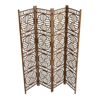 Chinoiserie Bamboo Leather Strapped Folding Screen For Sale