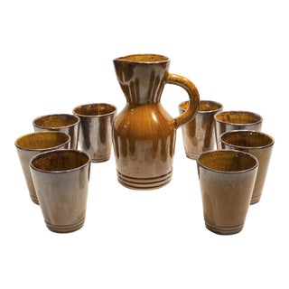 Pitcher with Eight Cups by Atelier du Grand Chene For Sale