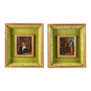 19th Century Medievel Scene Oil on Zinc Paintings Giltwood Frame - a Pair For Sale