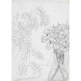 Floral Still Life Drawing by James Bone For Sale