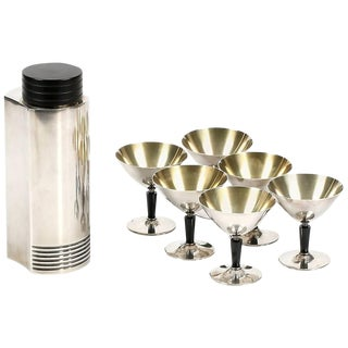 Swedish Silver Cocktail Shaker and Cocktail Cups, Folke Arstrom, 1930s For Sale