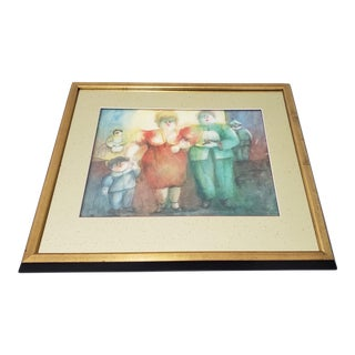 "Norah Beltrán (Bolivia, 20th C.) ""Family Group"" Original Watercolor C.1980s For Sale"
