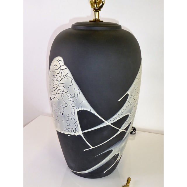 1960s Black N White Lava Glaze Pottery Table Lamp For Sale - Image 11 of 12