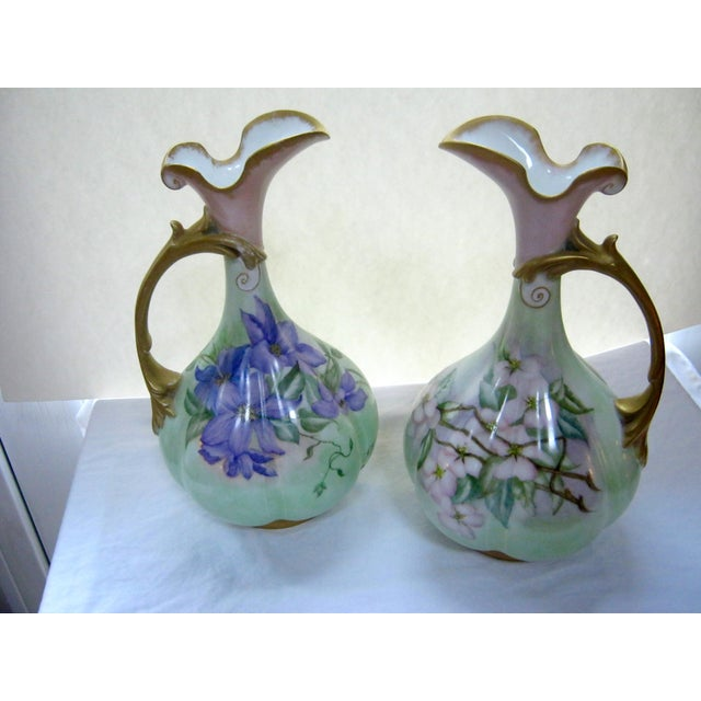 Antique Hand Painted Unsigned Limoges Ewers - A Pair - Image 2 of 8