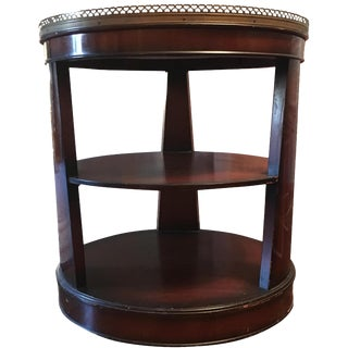 Round Wood Marble-Top Side Table