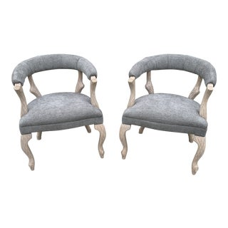 1970s Faux Bois Bergere Accent Chairs - a Pair For Sale