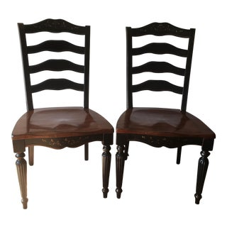 Rustic Countryside Ladder Back Chairs - A Pair