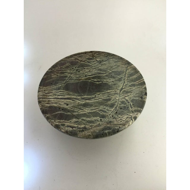 Vintage Mid-Century Italian Gray Marble Inkwell For Sale - Image 4 of 5