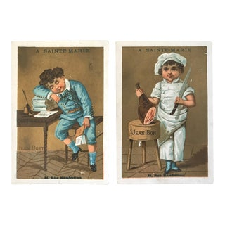 Antique 19th-Century Chromolithograph French Publicity Cards - a Pair For Sale