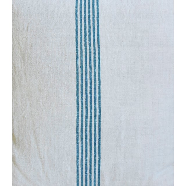 """Aqua Striped French Homespun Grain Sack Textile Feather/Down Pillows 21"""" Square - Pair For Sale - Image 4 of 13"""
