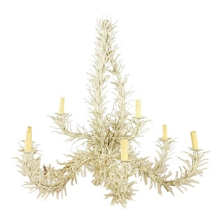 Shabby Chic White Coral 9 Arm Chandelier For Sale