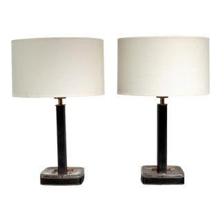 Pair of Glass and Leather Böhlmarks Table Lamps, Sweden, 1960s For Sale