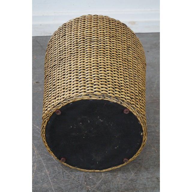 Woven Wicker Wrapped Cylinder End Tables - A Pair For Sale - Image 4 of 10