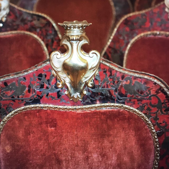 French Wood & Turtle Shell Boulle Marquetry Chairs - Set of 6 For Sale - Image 3 of 6