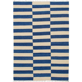 Turkish Navy and Ivory Striped Wool Rug - 5′4″ × 7′8″