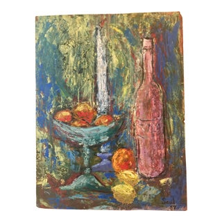 Vintage Mid-Century Palette Knife Still Life Painting For Sale