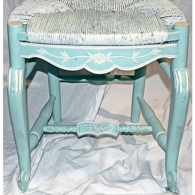 French Country Pale Blue Chair For Sale - Image 5 of 6